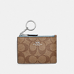 COACH F16107 - MINI SKINNY ID CASE IN SIGNATURE CANVAS KHAKI/PALE BLUE/SILVER