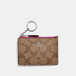 COACH F16107 - MINI SKINNY ID CASE IN SIGNATURE CANVAS KHAKI/CERISE/SILVER