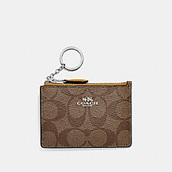 COACH F16107 - MINI SKINNY ID CASE IN SIGNATURE CANVAS KHAKI FLAX/SILVER