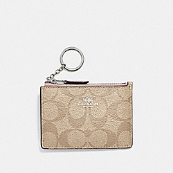 COACH F16107 - MINI SKINNY ID CASE IN SIGNATURE CANVAS LIGHT KHAKI/CARNATION/SILVER