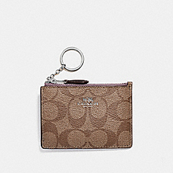COACH F16107 - MINI SKINNY ID CASE IN SIGNATURE CANVAS KHAKI/JASMINE/SILVER