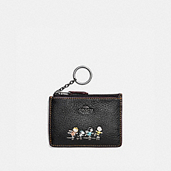 COACH F16108 Boxed Mini Skinny Id Case With Snoopy QB/BLACK