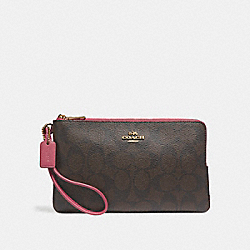 COACH F16109 Double Zip Wallet LIGHT GOLD/BROWN ROUGE