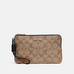 COACH F16109 Double Zip Wallet In Signature Canvas KHAKI/BLACK/IMITATION GOLD