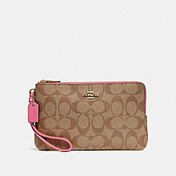 COACH F16109 - DOUBLE ZIP WALLET IN SIGNATURE CANVAS KHAKI/PINK RUBY/GOLD