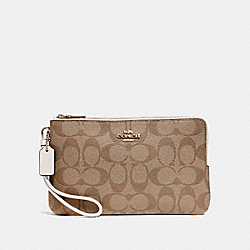 COACH F16109 Double Zip Wallet In Signature Canvas KHAKI/CHALK/GOLD
