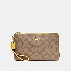 COACH F16109 Double Zip Wallet In Signature Canvas KHAKI/SUNFLOWER/GOLD