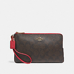 COACH F16109 - DOUBLE ZIP WALLET IN SIGNATURE CANVAS BROWN/TRUE RED/LIGHT GOLD