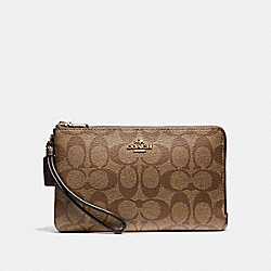 COACH DOUBLE ZIP WALLET IN SIGNATURE COATED CANVAS - LIGHT GOLD/KHAKI - F16109