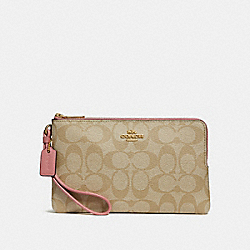 COACH F16109 Double Zip Wallet In Signature Canvas LIGHT KHAKI/VINTAGE PINK/IMITATION GOLD