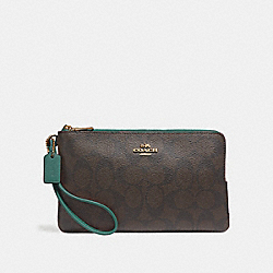 COACH F16109 - DOUBLE ZIP WALLET IN SIGNATURE CANVAS BROWN/DARK TURQUOISE/LIGHT GOLD