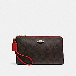 COACH F16109 Double Zip Wallet In Signature Canvas BROWN/RUBY/IMITATION GOLD