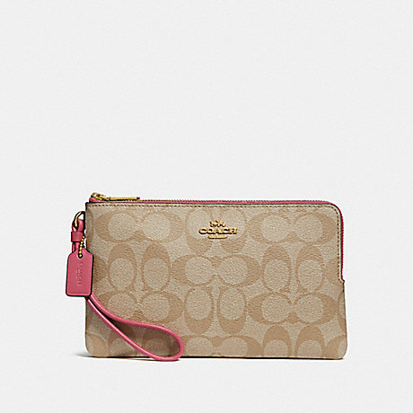 COACH F16109 DOUBLE ZIP WALLET IN SIGNATURE CANVAS LIGHT KHAKI/ROUGE/GOLD