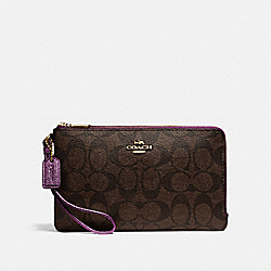 COACH F16109 Double Zip Wallet In Signature Canvas IM/BROWN METALLIC BERRY