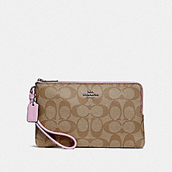 COACH F16109 Double Zip Wallet In Signature Canvas KHAKI/LILAC/SILVER