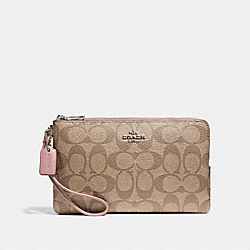COACH F16109 Double Zip Wallet In Signature Canvas KHAKI/PETAL/SILVER