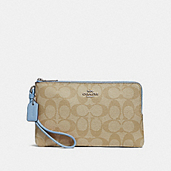 COACH F16109 Double Zip Wallet In Signature Canvas LT KHAKI/CORNFLOWER/SILVER