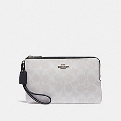 COACH F16109 Double Zip Wallet In Signature Canvas CHALK/MIDNIGHT/SILVER