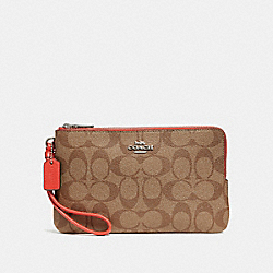 COACH F16109 Double Zip Wallet In Signature Canvas KHAKI/ORANGE RED/SILVER