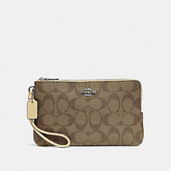 COACH F16109 Double Zip Wallet In Signature Canvas KHAKI/VANILLA/SILVER