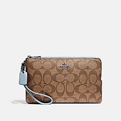 COACH F16109 Double Zip Wallet In Signature Canvas KHAKI/PALE BLUE/SILVER