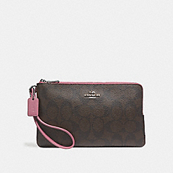 COACH F16109 Double Zip Wallet In Signature Canvas BROWN/DUSTY ROSE/SILVER