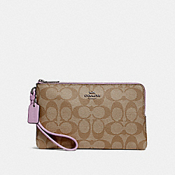 COACH F16109 - DOUBLE ZIP WALLET IN SIGNATURE CANVAS KHAKI/JASMINE/SILVER