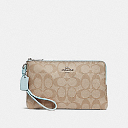 COACH F16109 - DOUBLE ZIP WALLET IN SIGNATURE CANVAS LIGHT KHAKI/SEAFOAM/SILVER