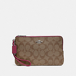 COACH F16109 - DOUBLE ZIP WALLET IN SIGNATURE CANVAS SV/KHAKI DARK FUCHSIA