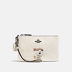 COACH F16110 Boxed Small Wristlet With Snoopy QB/CHALK