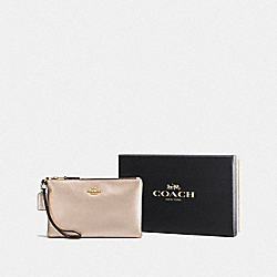 COACH F16112 Boxed Small Wristlet LIGHT GOLD/PLATINUM