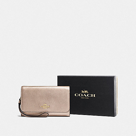 COACH BOXED PHONE CLUTCH - PLATINUM/LIGHT GOLD - F16116