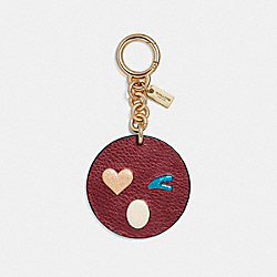 COACH F16209 Heart Wink Bag Charm GOLD/METALLIC CHERRY