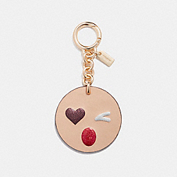 HEART WINK BAG CHARM - f16209 - GOLD/BEECHWOOD