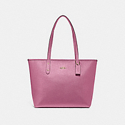 CITY ZIP TOTE - F16224 - METALLIC BLUSH/IMITATION GOLD