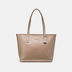 COACH F16224 City Zip Tote LIGHT GOLD/PLATINUM
