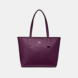 CITY ZIP TOTE - F16224 - METALLIC RASPBERRY/LIGHT GOLD