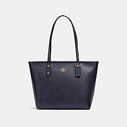 CITY ZIP TOTE - F16224 - METALLIC DENIM/LIGHT GOLD