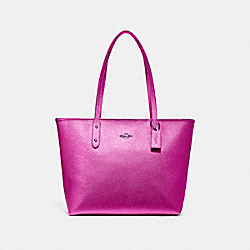 COACH F16224 - CITY ZIP TOTE METALLIC CERISE/BLACK ANTIQUE NICKEL