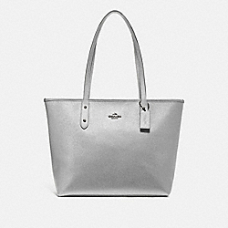 COACH F16224 City Zip Tote SILVER/BLACK ANTIQUE NICKEL