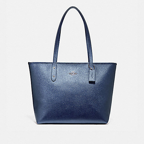COACH f16224 CITY ZIP TOTE SILVER/METALLIC NAVY