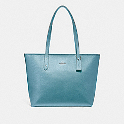 COACH F16224 City Zip Tote METALLIC SKY BLUE/SILVER