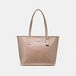 CITY ZIP TOTE - f16224 - SILVER/PLATINUM