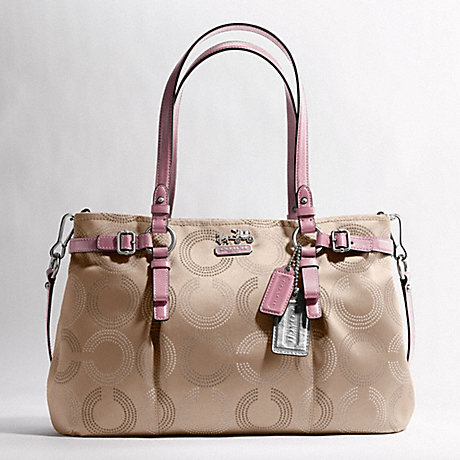 COACH F16366 MADISON DOTTED OP ART CARRYALL SILVER/LIGHT-KHAKI/ROSE
