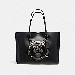 SHOPPING TOTE 39 IN POLISHED PEBBLE LEATHER WITH RACCOON - f16513 - ANTIQUE NICKEL/BLACK