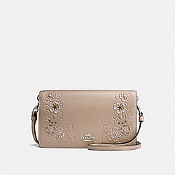 COACH F16607 Foldover Crossbody Clutch With Painted Tea Rose Tooling LIGHT ANTIQUE NICKEL/STONE MULTI