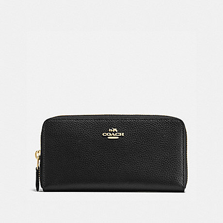 COACH f16612 ACCORDION ZIP WALLET IN POLISHED PEBBLE LEATHER IMITATION GOLD/BLACK