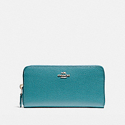 COACH ACCORDION ZIP WALLET IN POLISHED PEBBLE LEATHER - LIGHT GOLD/DARK TEAL - F16612