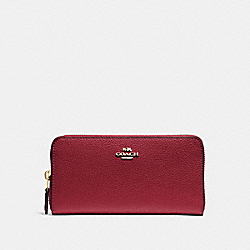 COACH F16612 Accordion Zip Wallet CHERRY /LIGHT GOLD