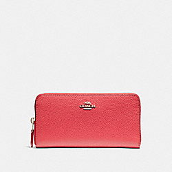 COACH F16612 Accordion Zip Wallet In Polished Pebble Leather LIGHT GOLD/TRUE RED
